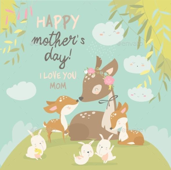 Cartoon Deer Family