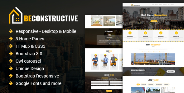 Be Constructive - One Page Construction HTML Template