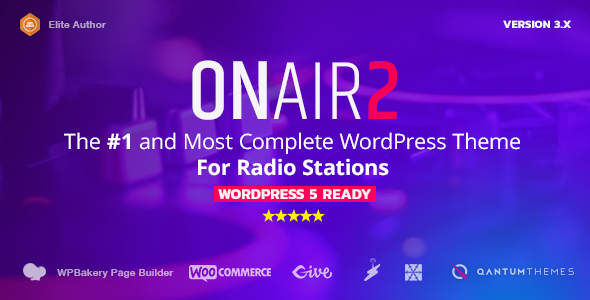 Onair2: Radio Station WordPress Theme With Non-Stop Music Player