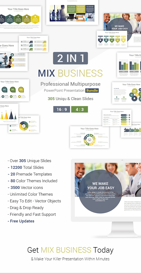 2 In 1 Mix Business PowerPoint Presentation Template Bundle