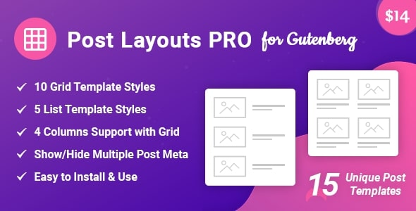 Post Layouts Pro for Gutenberg