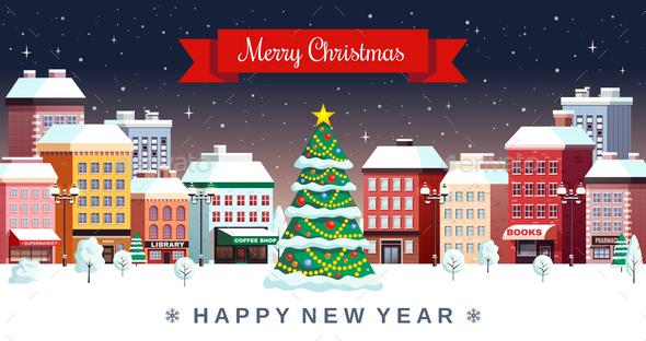 Winter Christmas Holidays City Illustration