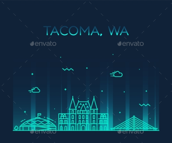 Tacoma Skyline Washington USA Vector Linear Style