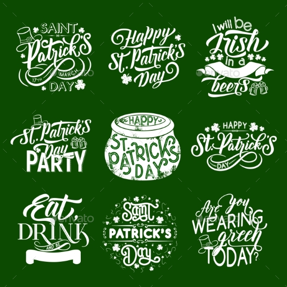 St Patrick Day Irish Traditional Greeting Icons