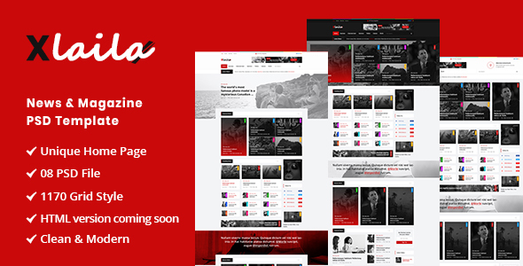 Xlaila - Magazine & Newspaper PSD Template