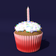 Cupcake with Candle - 3DOcean Item for Sale