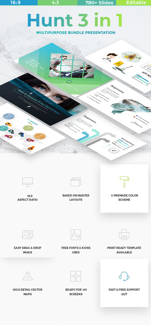 Hunt 3 in 1 - Bundle Business & Creative Powerpoint Template