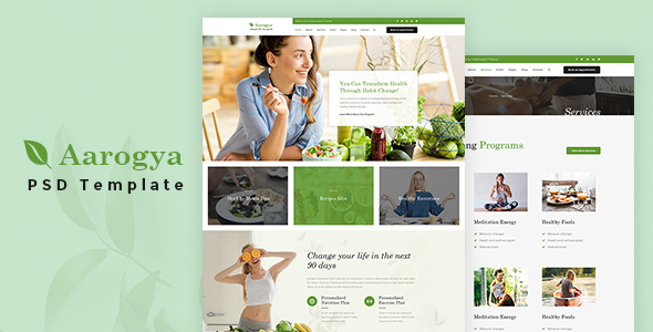 Aarogya | Health Coach and Nutrition, Dietitian PSD Template