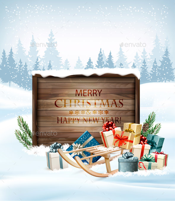 Merry Christmas Background with Gift Boxes and Wooden Sign