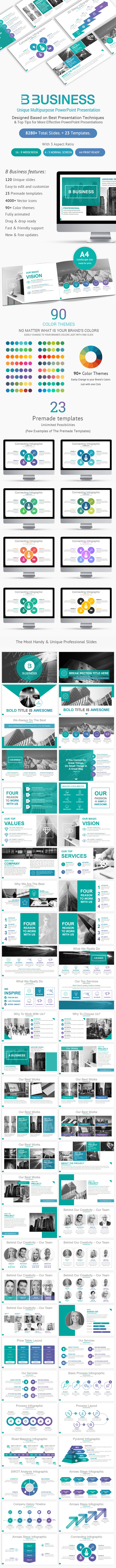 B Business Solutions PowerPoint Template