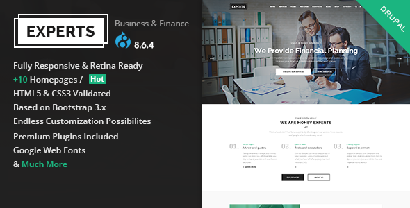 Experts Business - Multipurpose Business & Finance Drupal 8.6.4 Theme