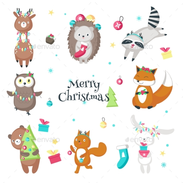 Christmas Animals Vector Isolated