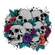 Skull and Flowers Butterflies Vector Illustration - GraphicRiver Item for Sale