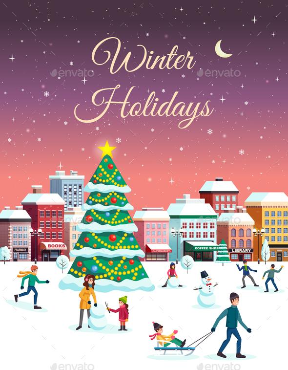 Winter Holidays City Poster