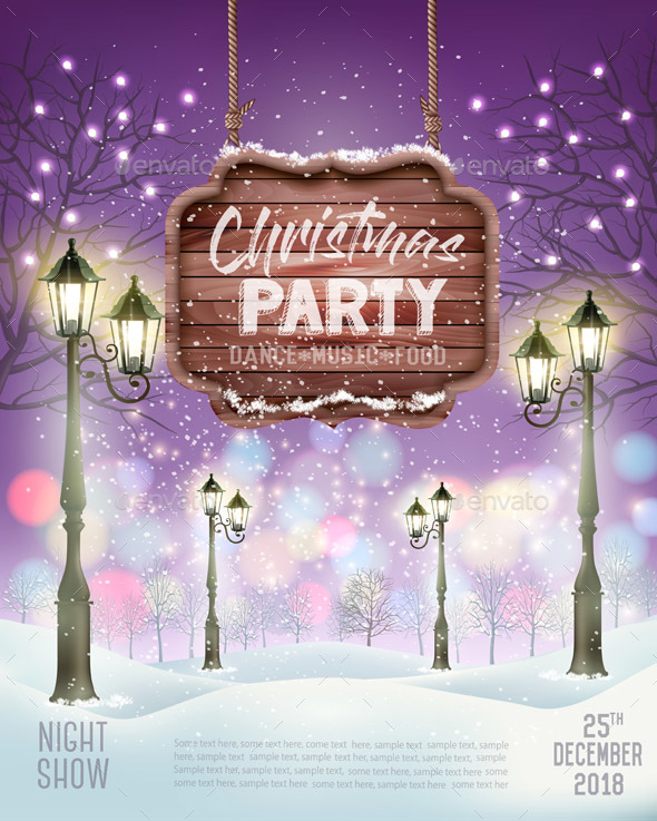 Merry Christmas Party Flyer Background