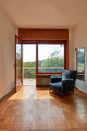 Sunny room interior with window and blue velvet armchair in country house - PhotoDune Item for Sale