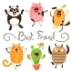 Panda, Pig, Dog, Cat and Owl Best Friends - GraphicRiver Item for Sale