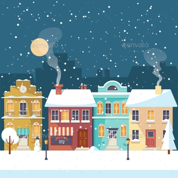 Snowy Christmas Night in the Cozy Town