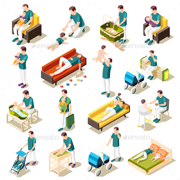 Fathers On Maternity Leave Isometric Set