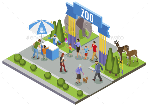Isometric Zoo Entrance Composition