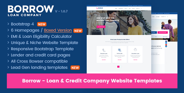 Borrow - Loan Company Responsive Website Templates
