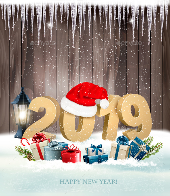 Happy New Year 2019 Background With Presents and Santa Hat. Vector.