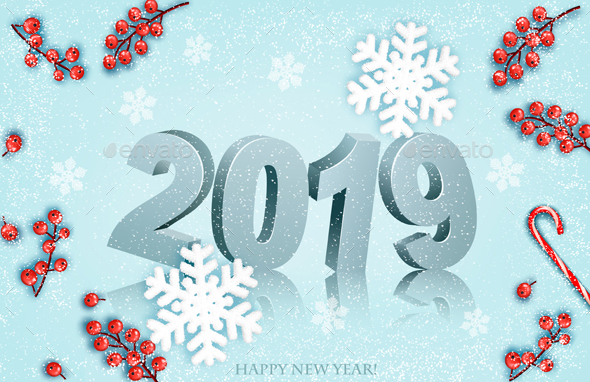 Happy New Year 2019 Background With Snowflakes