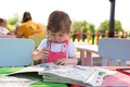 little girl drawing a colorful pictures - PhotoDune Item for Sale