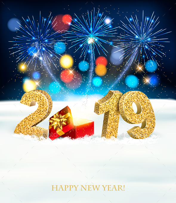 Holiday New Year Background With Fireworks