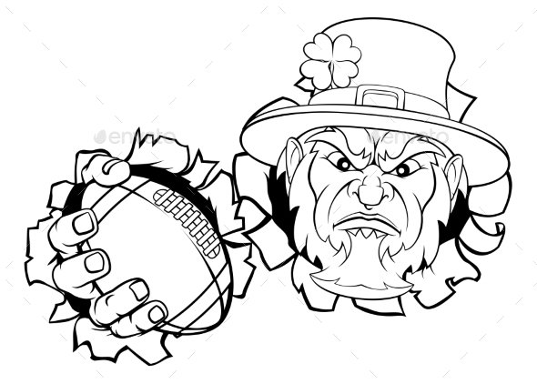 Leprechaun Football Mascot Tearing Background
