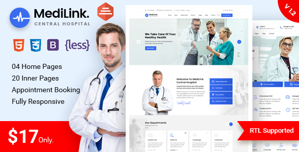 Medilink - Health & Medical Bootstrap 4 Template
