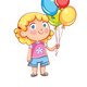 Girl Holding Colorful Balloons - GraphicRiver Item for Sale