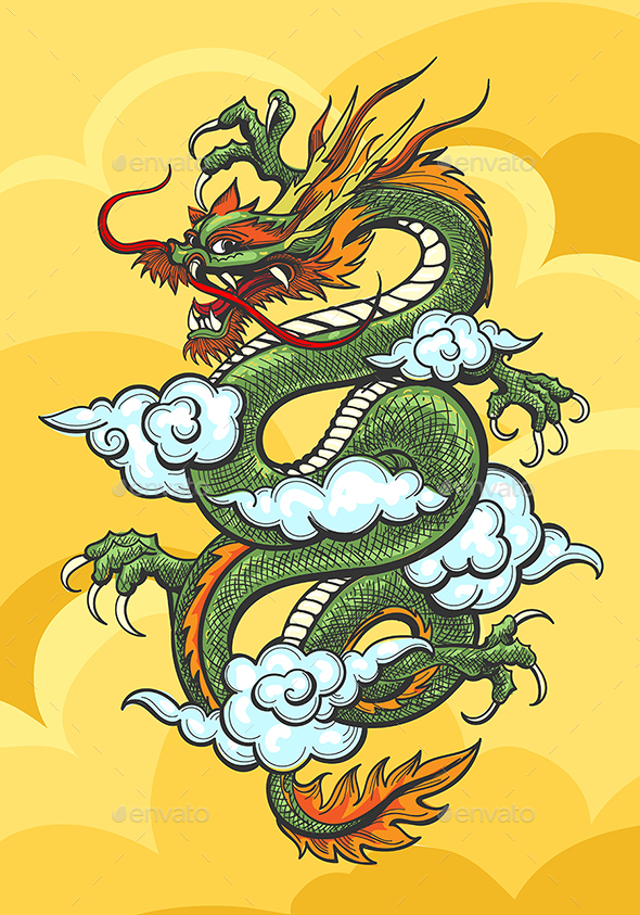 Chinese Dragon Colorful Illustration