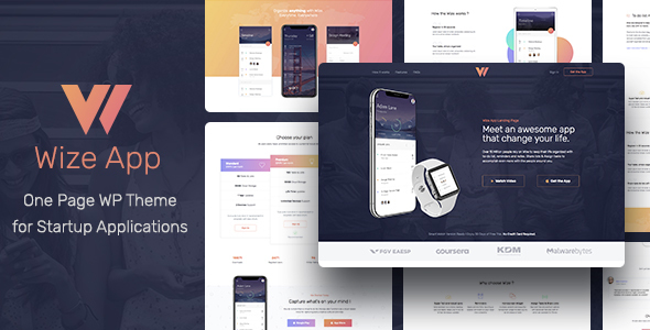 WizeApp | One Page App Landing WordPress Theme for Elementor