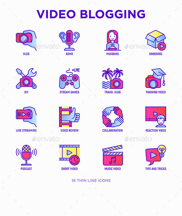 Video Blogging   16 Thin Line Icons Set