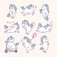 Set of Unicorns with Rainbow Mane - GraphicRiver Item for Sale
