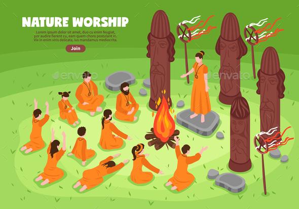 Nature Worship Isometric Background