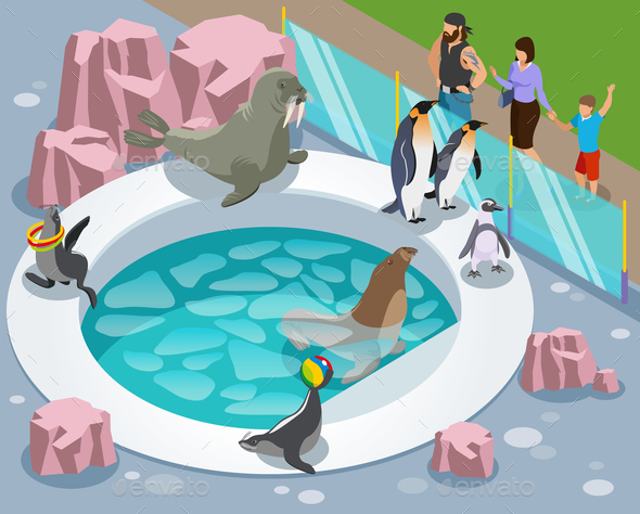 Petting Zoo Isometric Composition