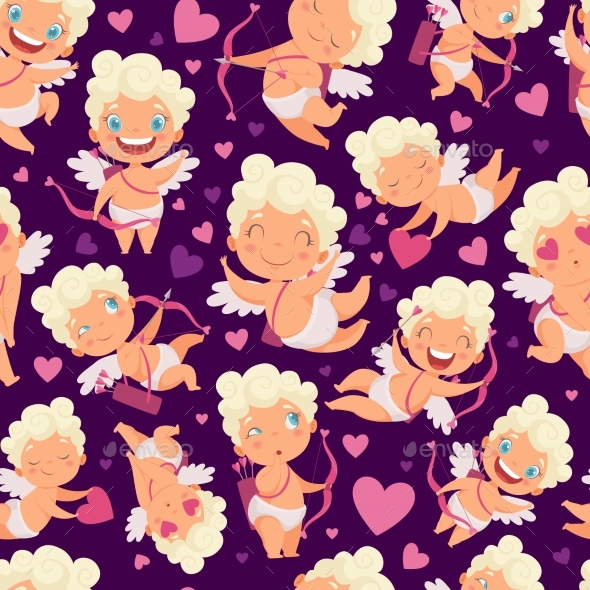 Angels Seamless Pattern. Love Valentines Day Pink