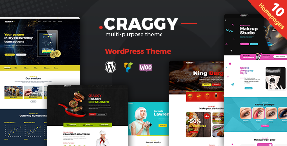Craggy - Food Delivery, Services & Bitcoin Crypto Currency Multi-purpose WordPress Theme