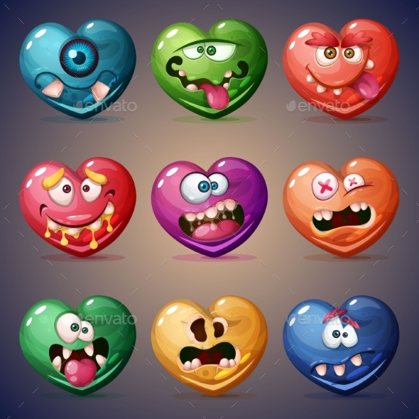 Set Valentine Hearts