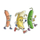 Banana and Cucumber Run From Zombie Sausage - GraphicRiver Item for Sale