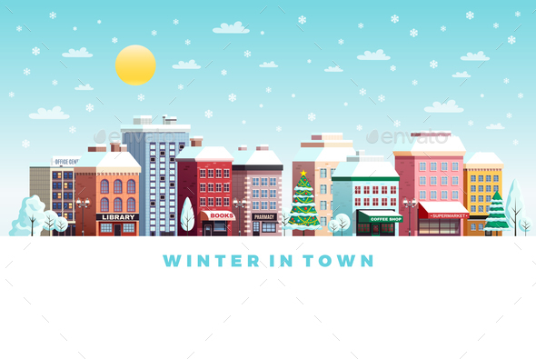 Winter Day City  Flat Poster