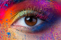 Close up view of female eye with bright multicolored fashion mak - PhotoDune Item for Sale