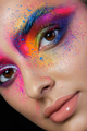 Close up view of female face with bright multicolored fashion ma - PhotoDune Item for Sale
