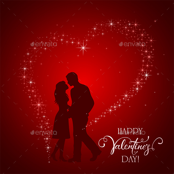 Valentines Day Background with Man and Woman