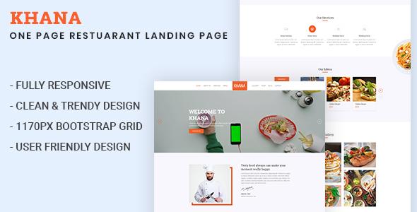 KHANA- One Page Restaurant HTML5 Template