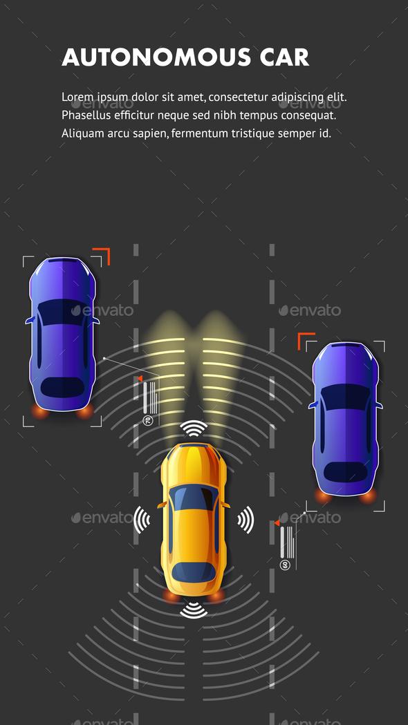 Autonomus Car Traffic Top View Vector Illustration