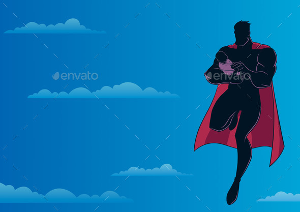Super Dad with Baby Sky Silhouette