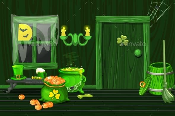 Green House Illustration Interior Wooden Room